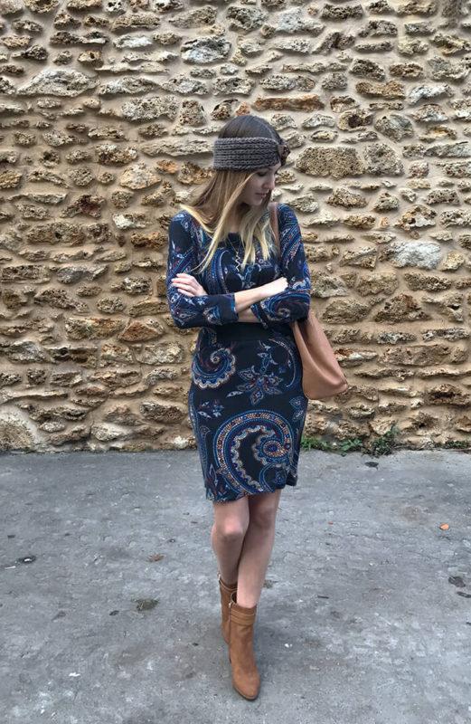 tenue robe bandeau6 521x800 - La jolie robe motif cachemire