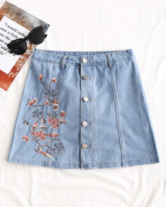 jupe jean fleurs - Ma sélection Zaful