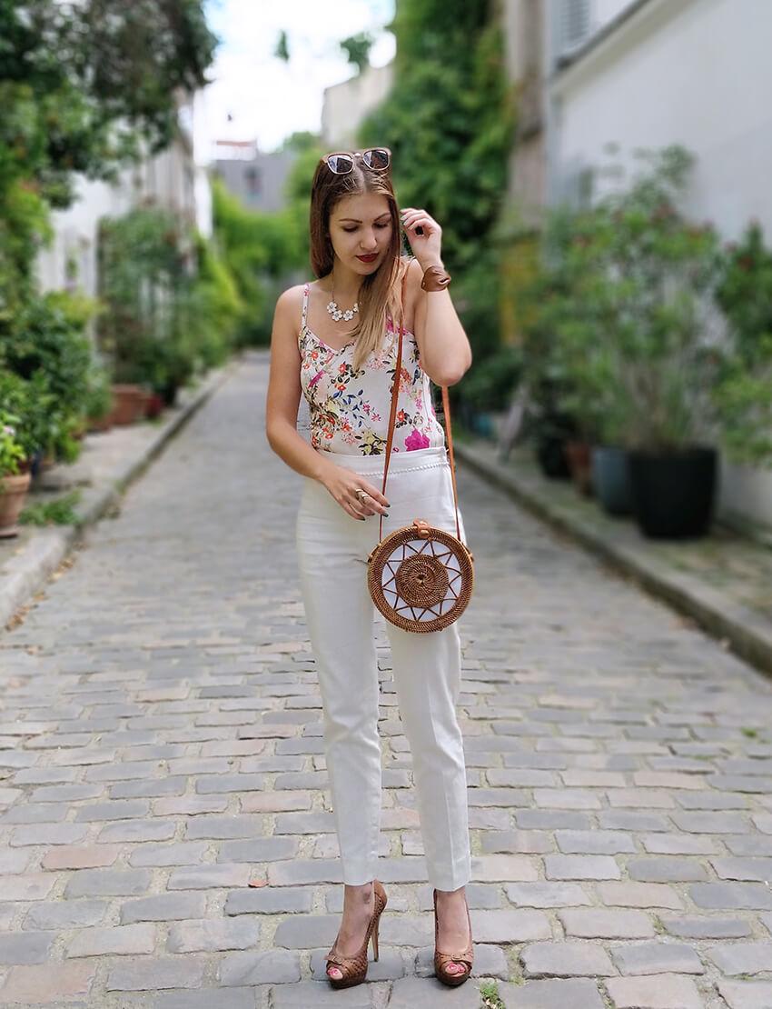 blogueuse 19 janvier mode tenue sac rond bali - De la verdure et du soleil