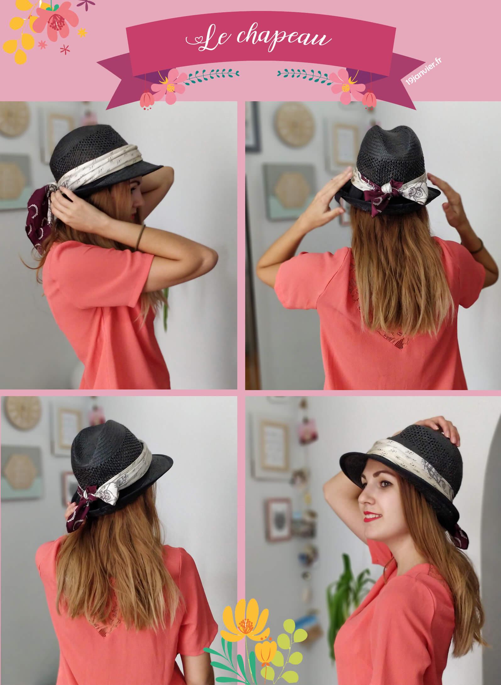 accessoire chapeau foulard tutoriel - Que faire avec un carré de soie ?