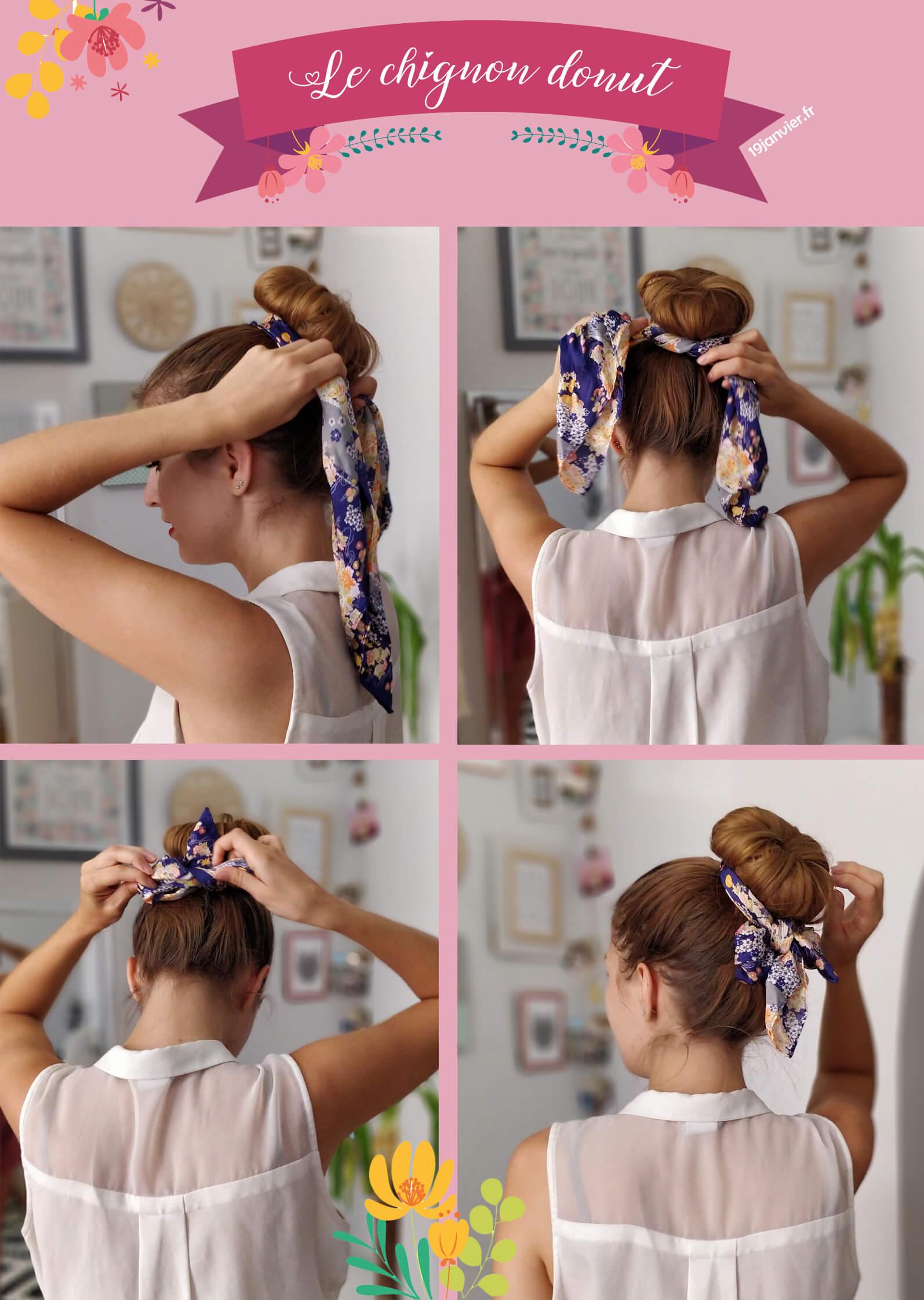 coiffure chignon foulard tutoriel - Que faire avec un carré de soie ?