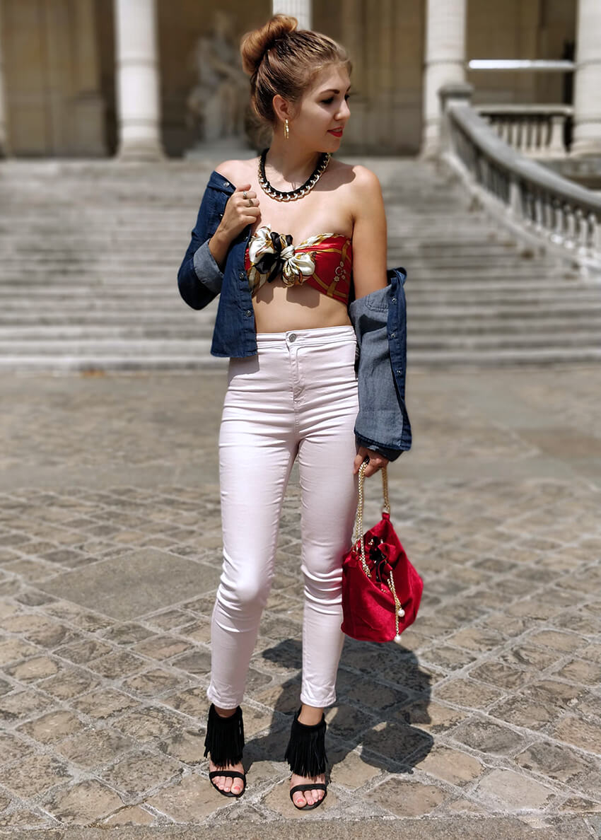 mode tenue ootd blogueuse top foulard - C'est décidé : j'ose !