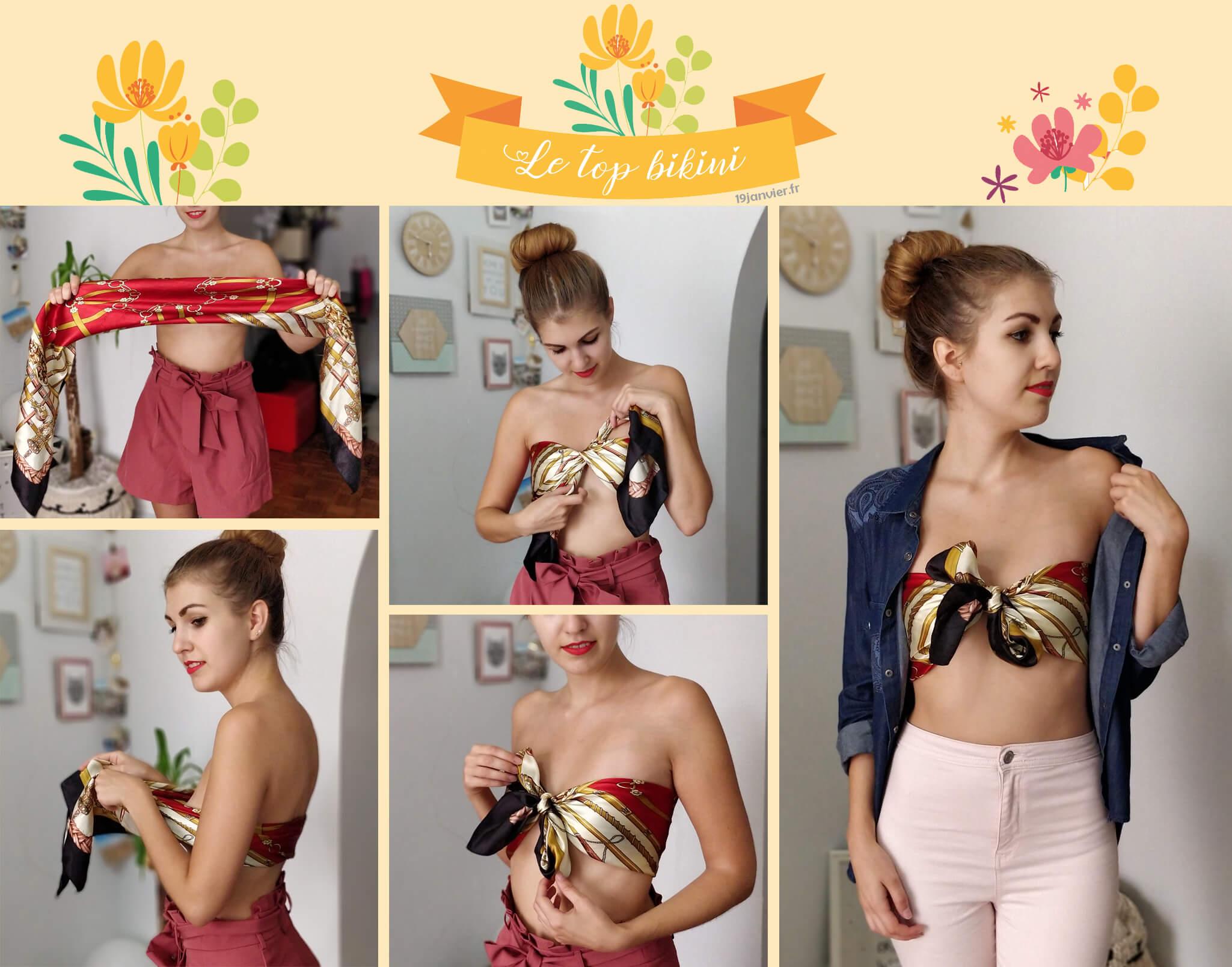 top bikini noeud foulard tutoriel - Que faire avec un carré de soie ?