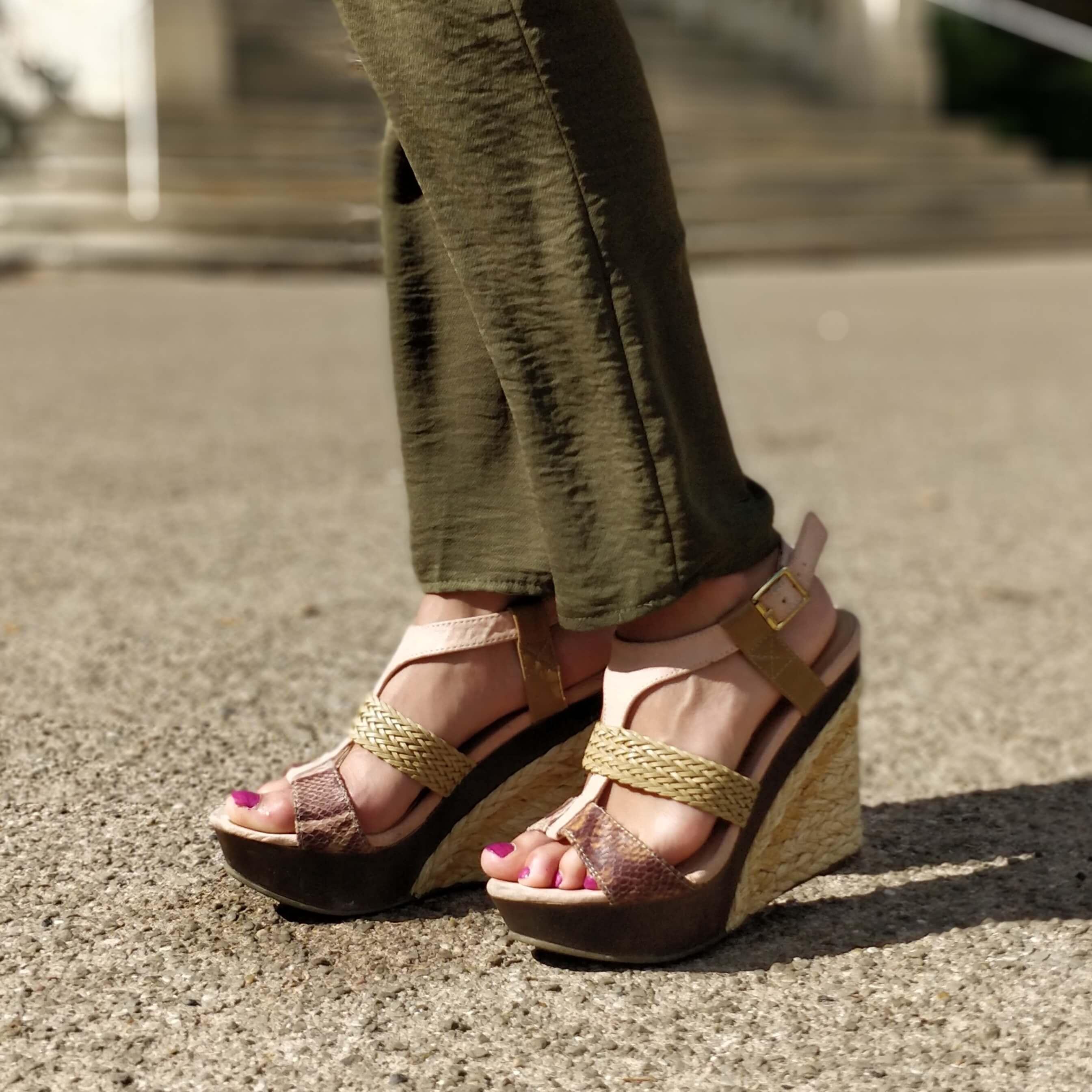 détals chaussures compensées sandales - Profiter de l'été indien