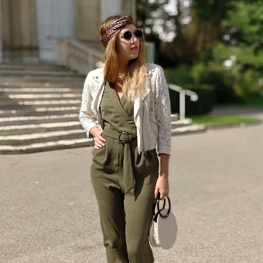 tenue blog outfit combinaison kaki - Profiter de l'été indien