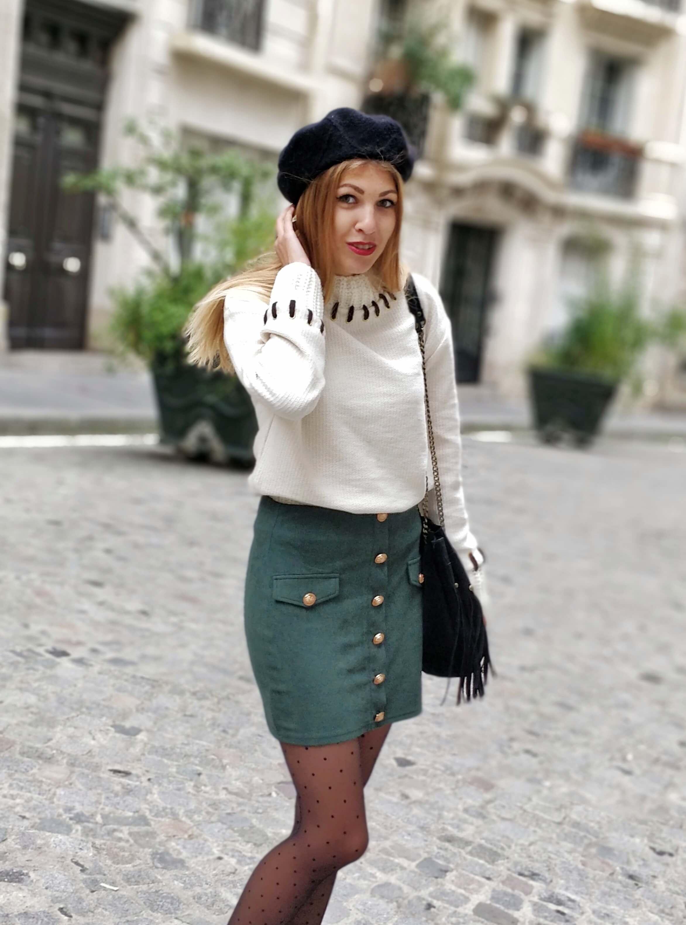 blog mode paris 19 janvier tenue jupe sapin - La couleur de l'hiver