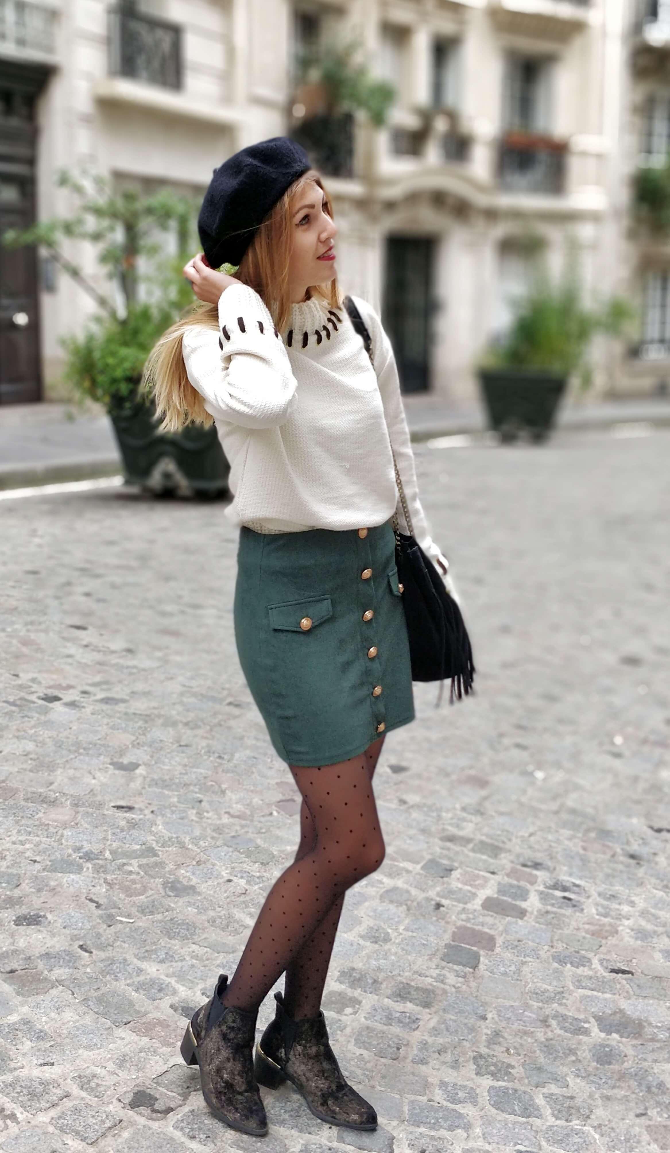 jupe sapin tenue hiver blog mode - La couleur de l'hiver