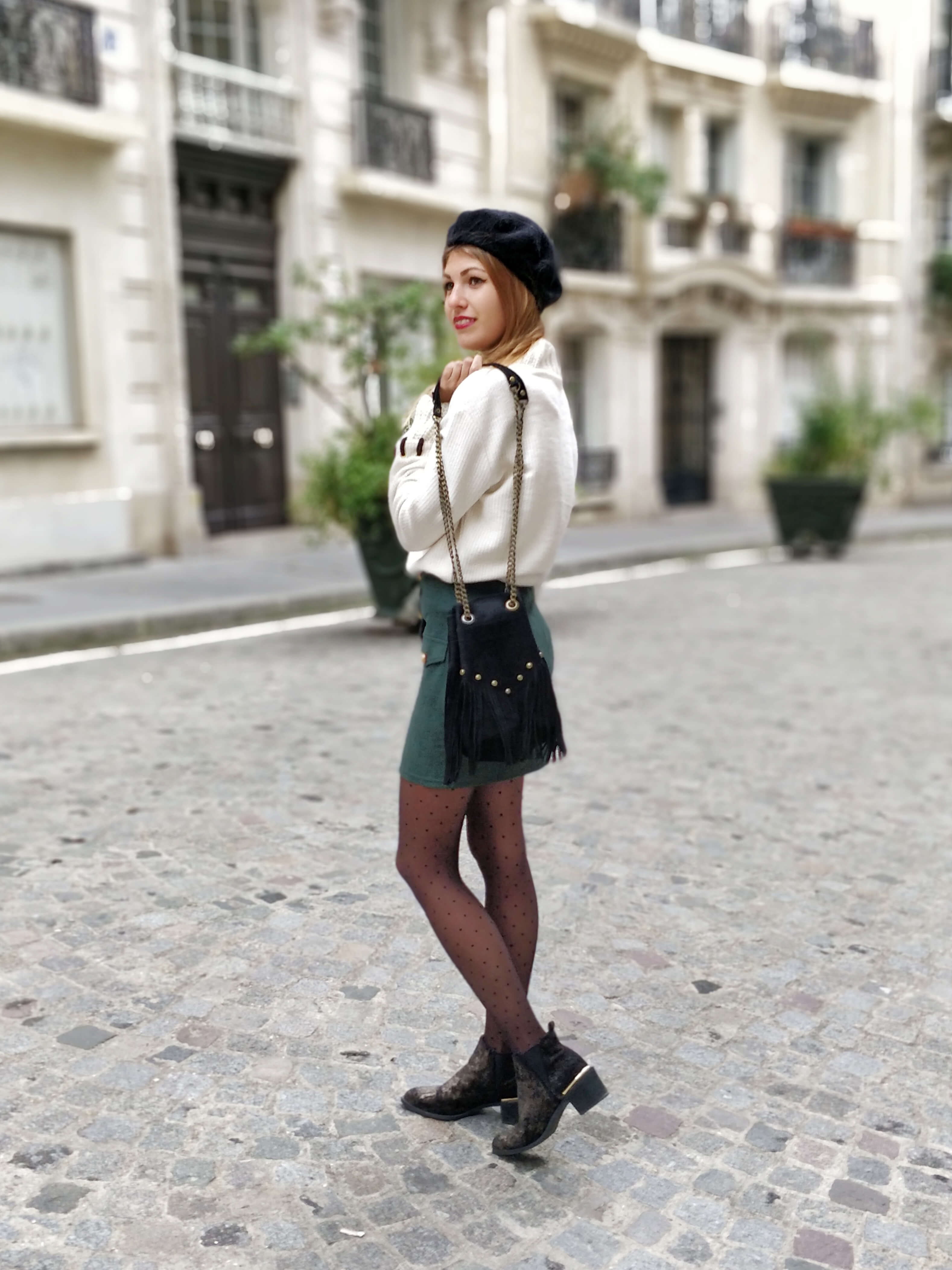 tenue jupe sapin blog mode paris 19 janvier - La couleur de l'hiver
