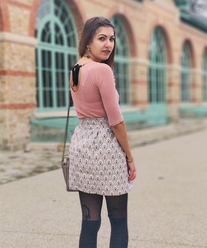 blog mode tenue jupe rose graphique - C'est encore plus beau quand c'est fait main
