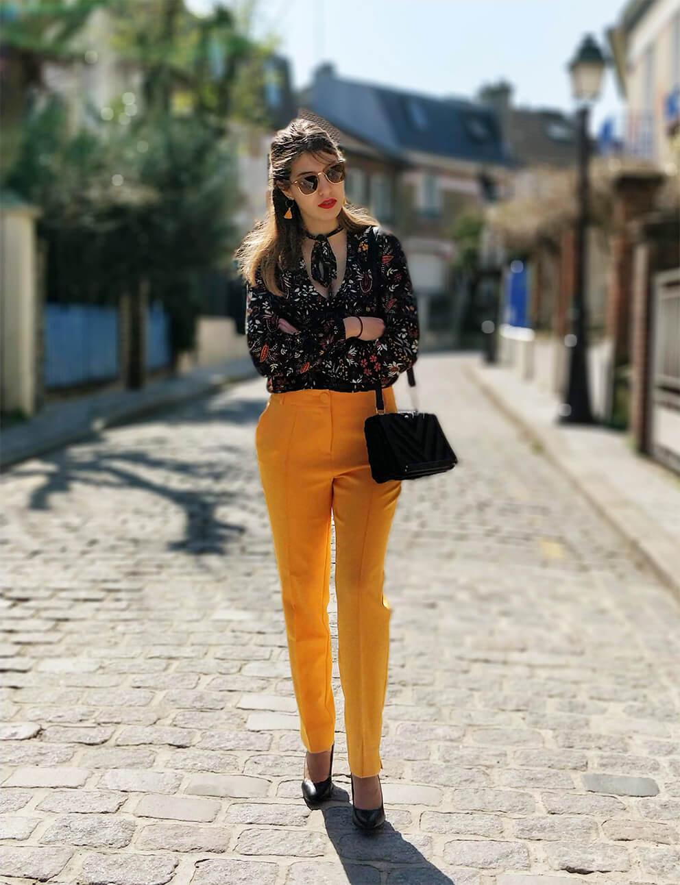 blog mode tenue pantalon jaune printemps - Du bonheur et de la couleur