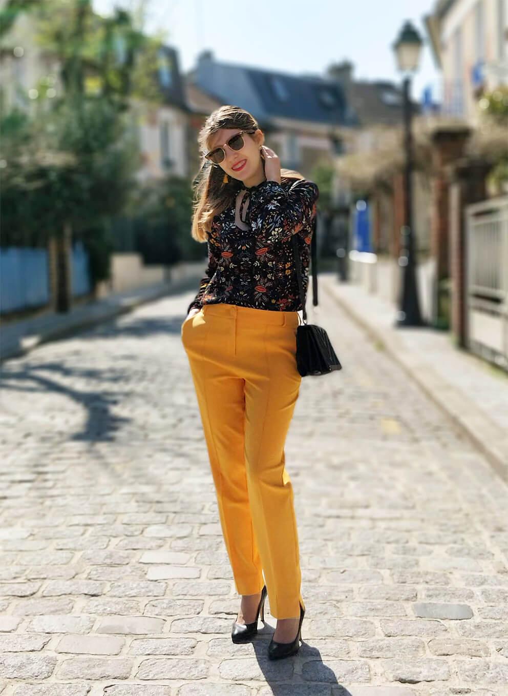 blog tenue pantalon jaune printemps - Du bonheur et de la couleur