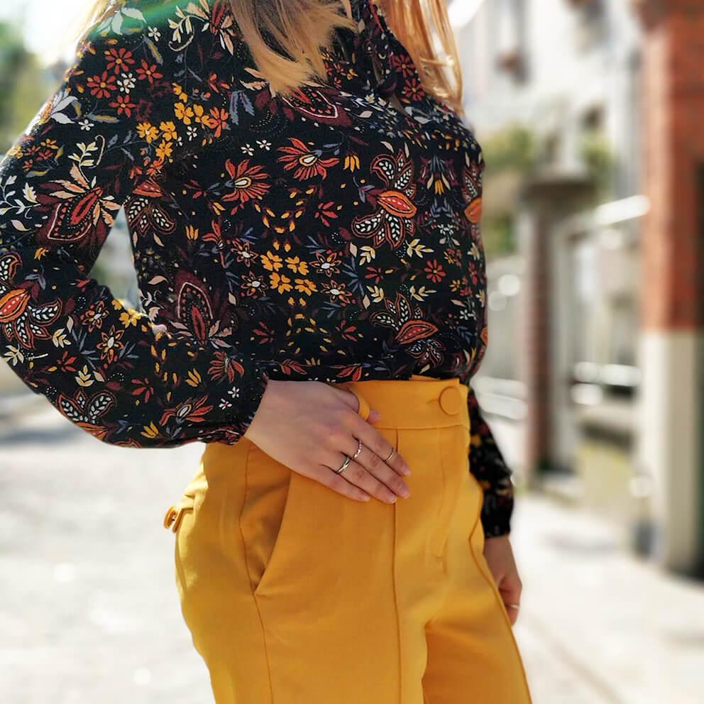 details tenue pantalon jaune mode blog - Du bonheur et de la couleur