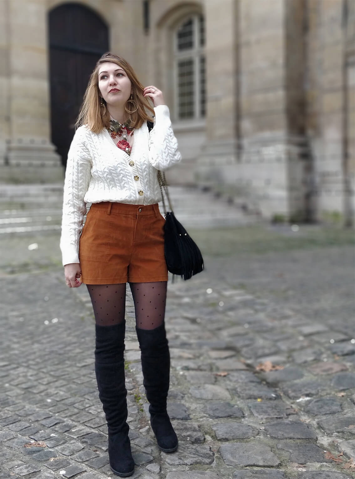tenue blog short suédine - L'amour des shorts en hiver