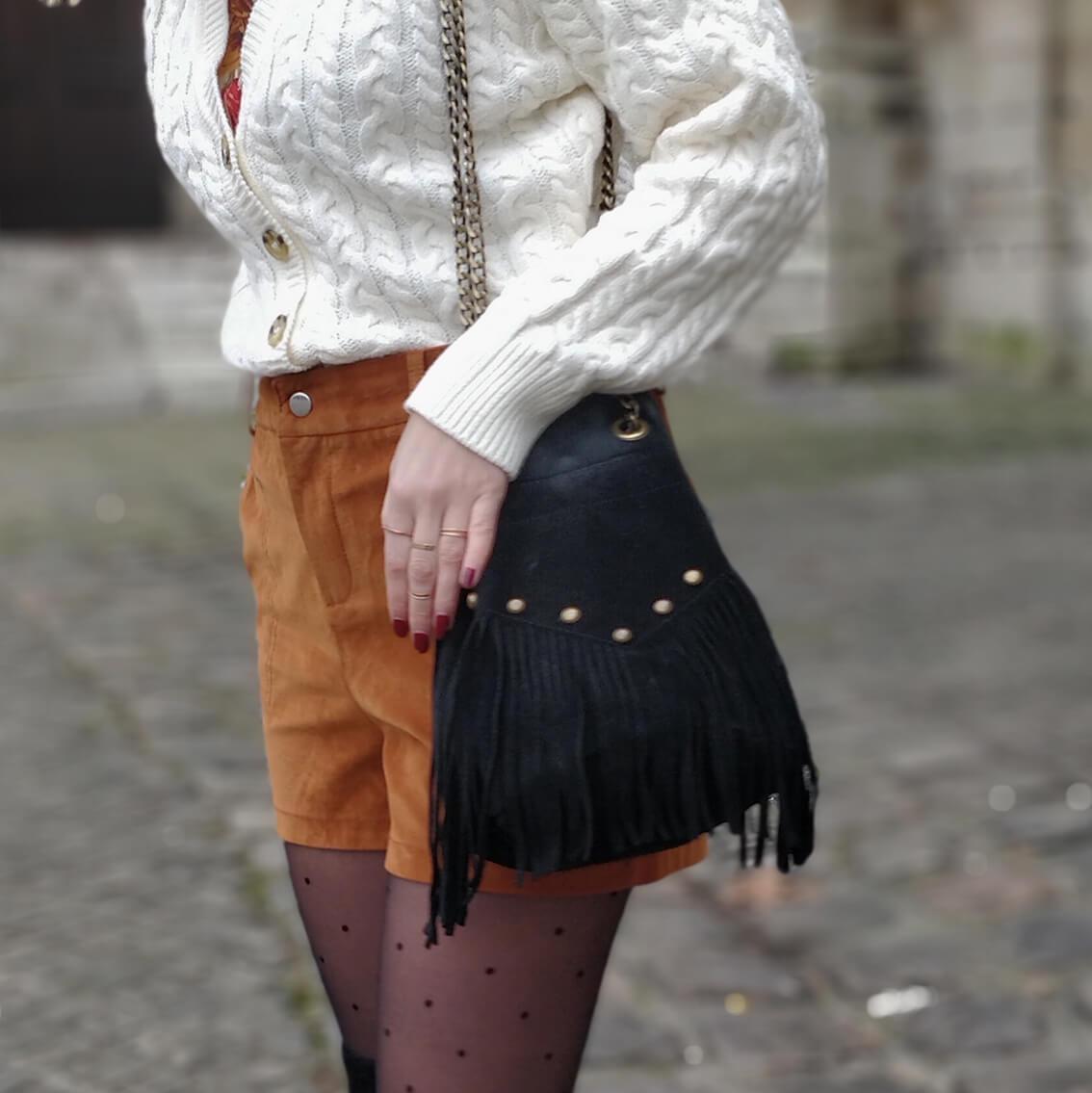 tenue hiver blog short suédine details sac - L'amour des shorts en hiver