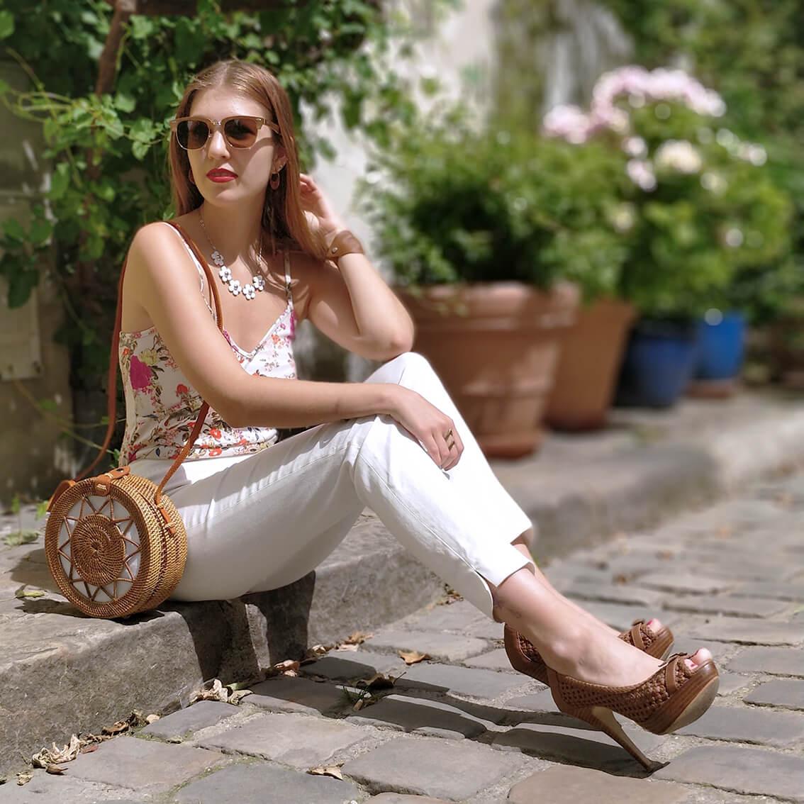 blog mode paris 19 janvier pantalon blanc tenue - De la verdure et du soleil