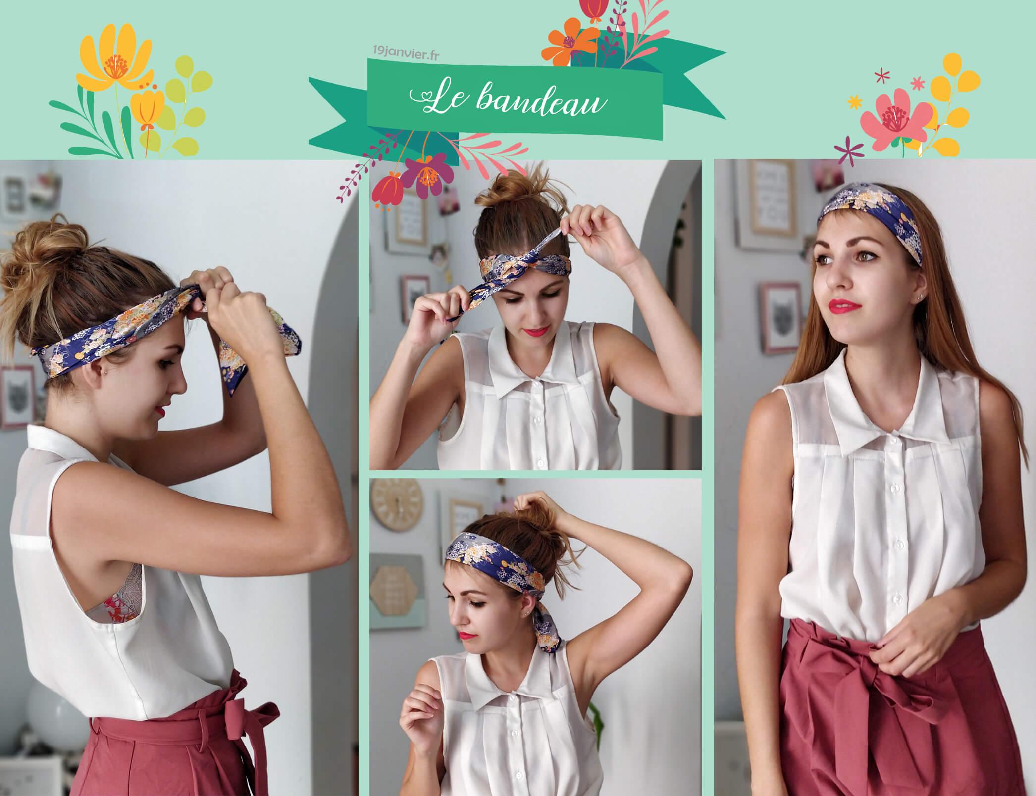 bandeau foulard tutoriel coiffure - Que faire avec un carré de soie ?
