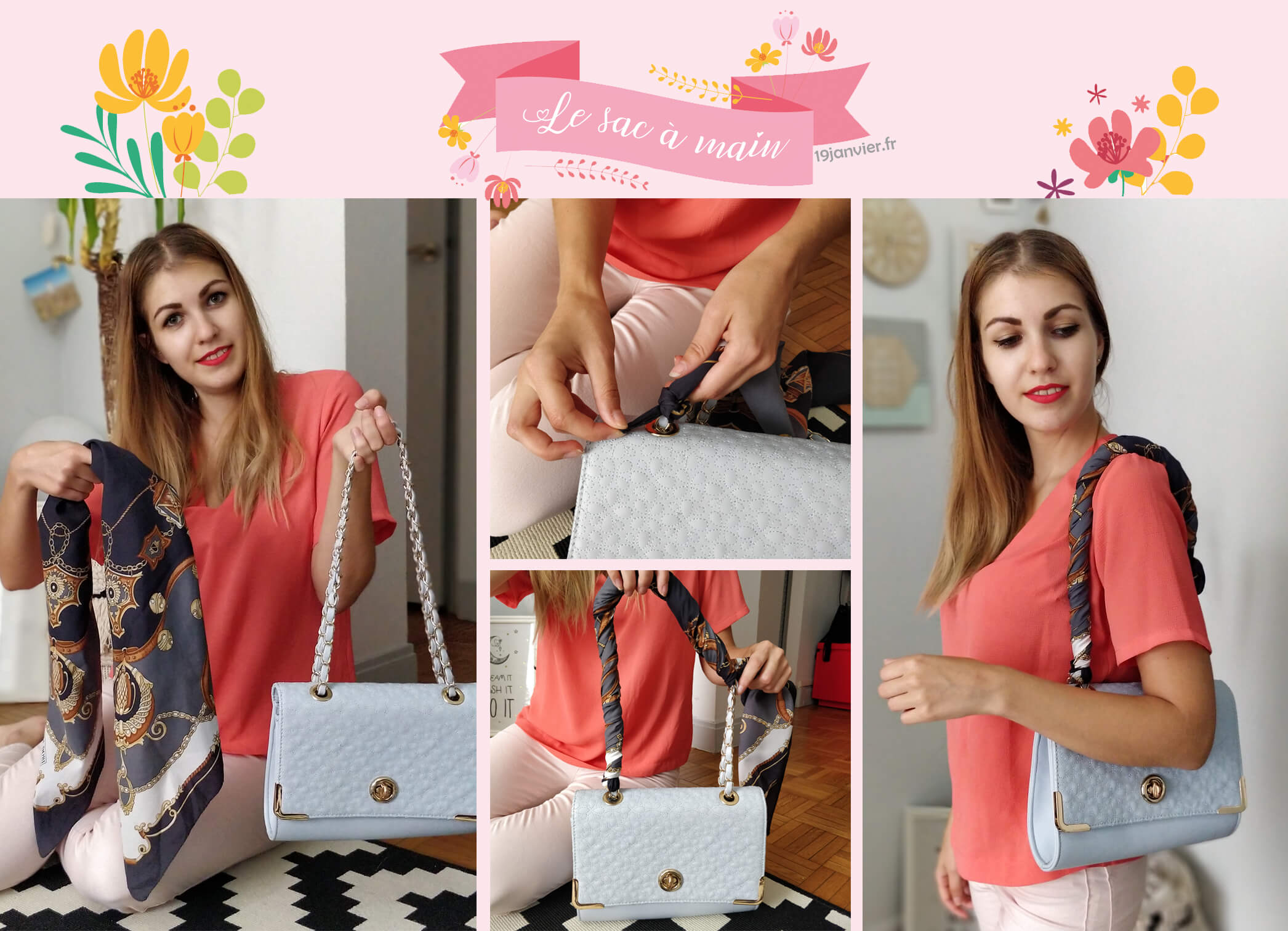 sac a main foulard accessoire - Que faire avec un carré de soie ?