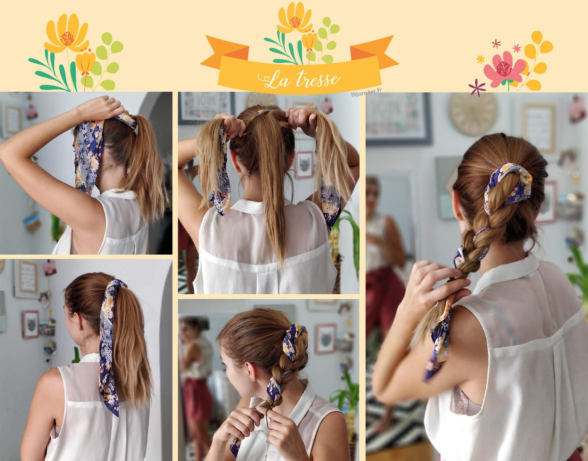 tresse coiffure foulard tutoriel - Que faire avec un carré de soie ?