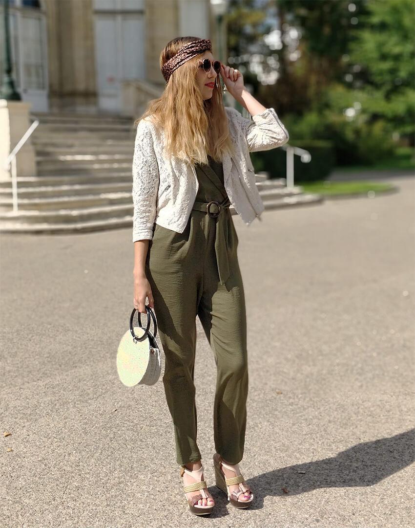 tenue blog mode perfecto dentelle combinaison kaki - Profiter de l'été indien