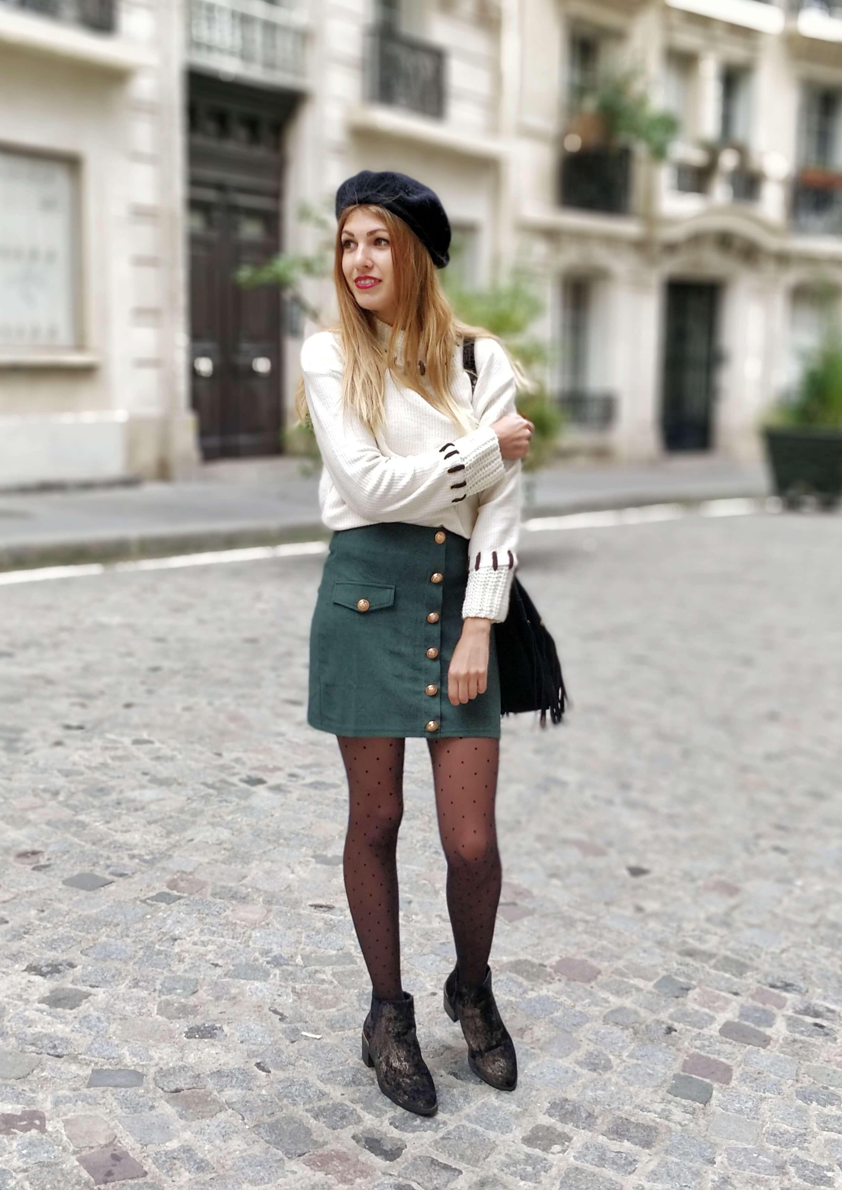 jupe sapin tenue blog mode hiver 19 janvier - La couleur de l'hiver