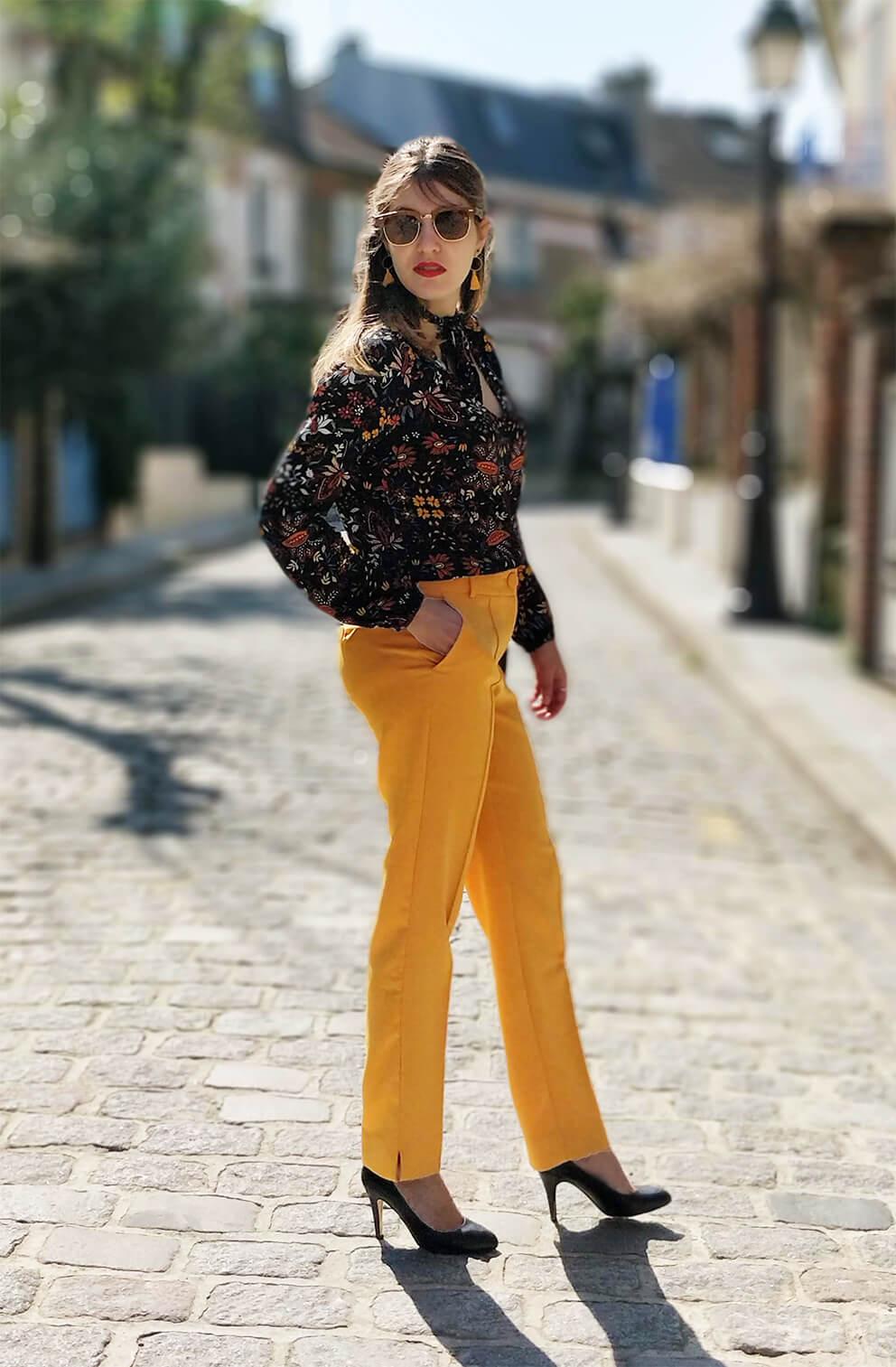 blog 19 janvier tenue pantalon jaune printemps - Du bonheur et de la couleur