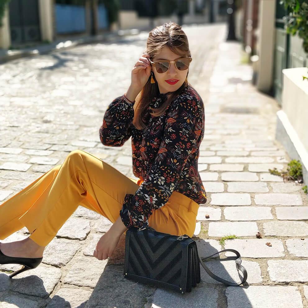 blog tenue pantalon jaune printemps paris - Du bonheur et de la couleur