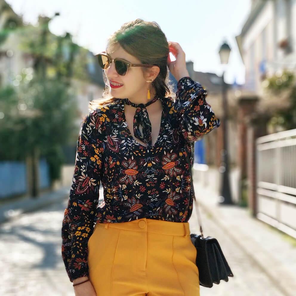 details tenue blog 19 janvier top fleuri - Du bonheur et de la couleur