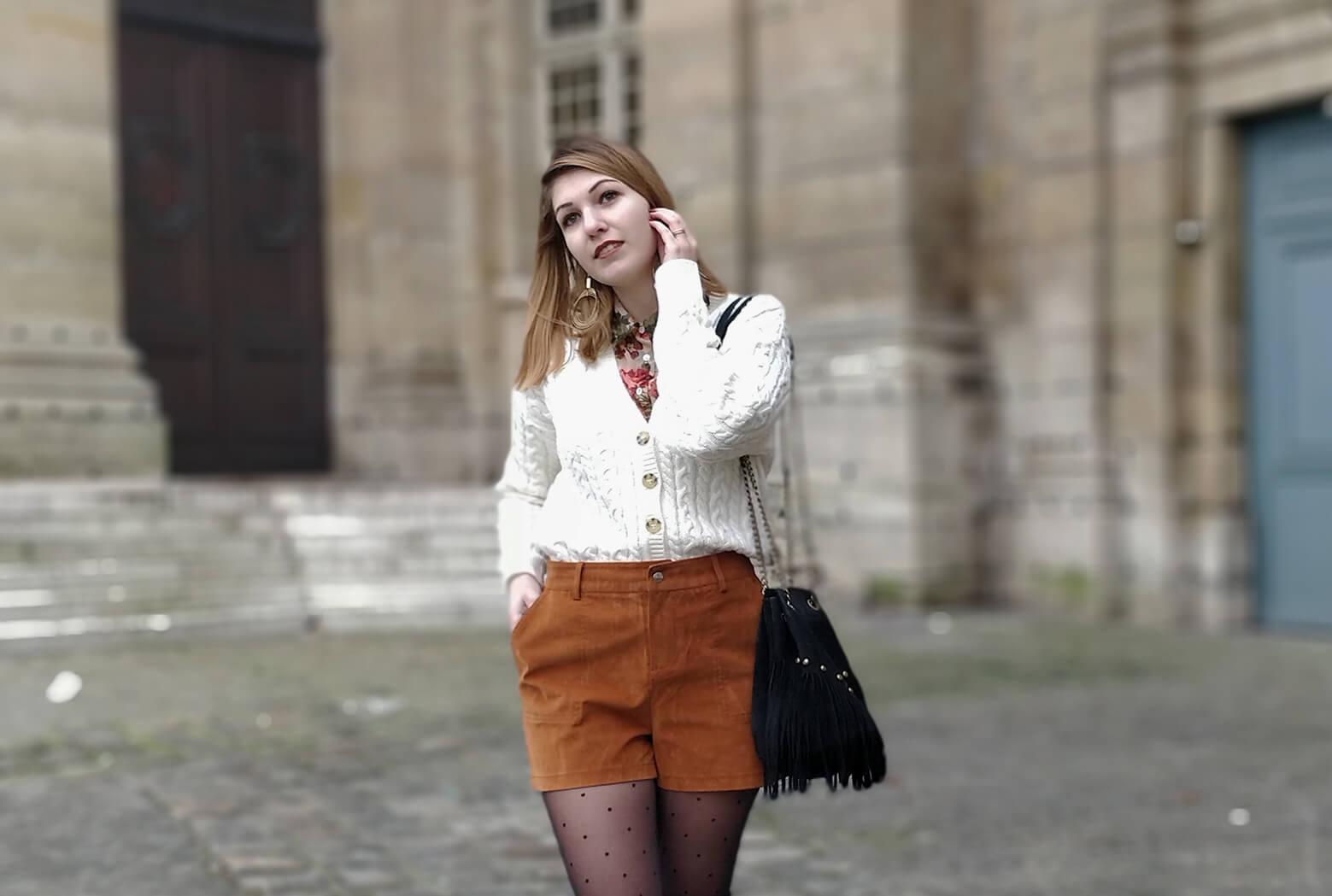 blog 19 janvier mode tenue short suedine - L'amour des shorts en hiver