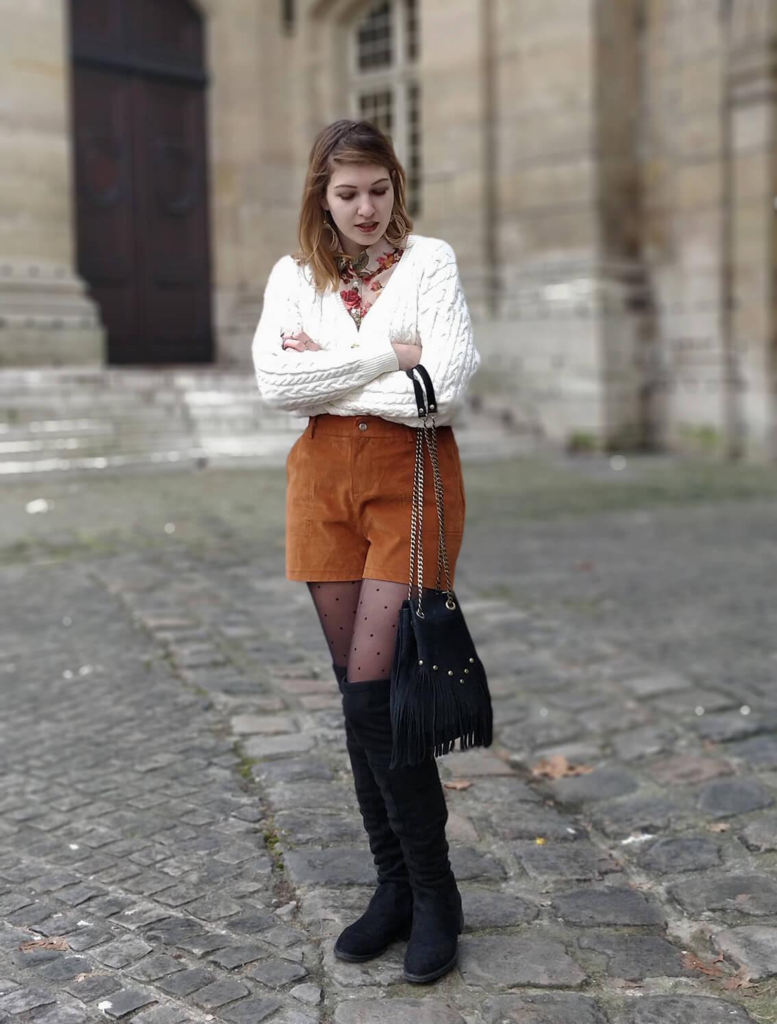tenue blog 19 janvier short collants pois - L'amour des shorts en hiver