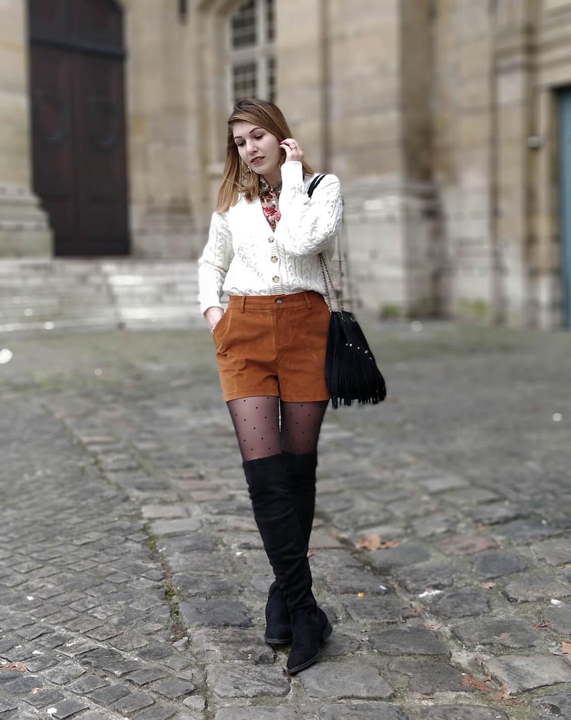 tenue blog 19 janvier short suédine - L'amour des shorts en hiver
