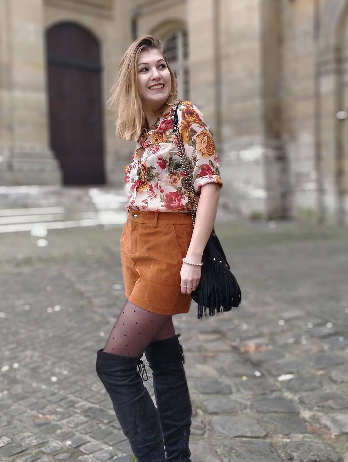 tenue hiver blog 19 janvier chemise fleurs - L'amour des shorts en hiver